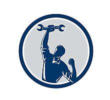 Mechanic Spanner Wrench Fist Pump Circle by patrimonio
