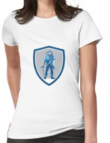 Coal Miner Pick Axe Frontpack Shield Retro Womens Fitted T-Shirt
