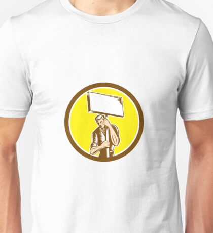 Protester Activist Union Worker Placard Sign Woodcut Unisex T-Shirt