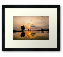 Yellow Water Sunset Reflections Framed Print