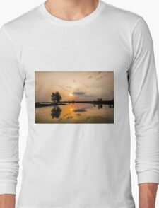 Yellow Water Sunset Reflections Long Sleeve T-Shirt