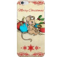 Love, Joy, PIE! Merry Christmas! Cute mouse illustration iPhone Case/Skin