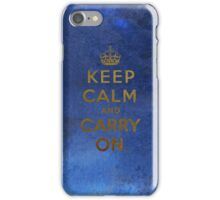 Keep Calm and Carry One Grunge Dark Blue Background iPhone Case/Skin