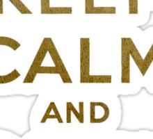 Keep Calm and Carry One Grunge Dark Blue Background Sticker