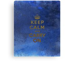 Keep Calm and Carry One Grunge Dark Blue Background Canvas Print