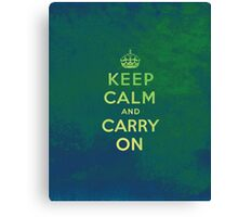 Keep Calm and Carry One Grunge Green Background Canvas Print