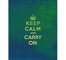 Keep Calm and Carry One Grunge Green Background Photographic Print