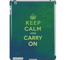 Keep Calm and Carry One Grunge Green Background iPad Case/Skin