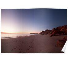 Desert meets ocean sunset Poster