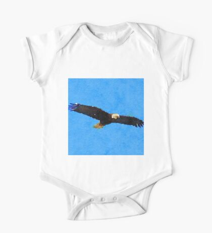 water color,hand painted,bald eagle, bird,eagle,nature,animal One Piece - Short Sleeve