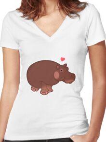 Hippo Love Women's Fitted V-Neck T-Shirt