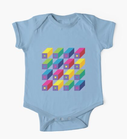 Roman Blocks - brights on grey One Piece - Short Sleeve