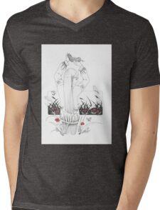 Mädchen mit Vogelnest Mens V-Neck T-Shirt