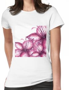flowers red circle spring graphic whatercolor Womens Fitted T-Shirt