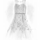 Wedding dress drawing by Mike Theuer