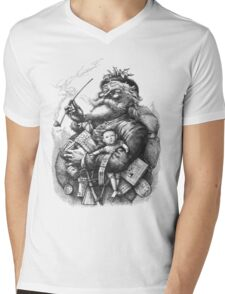 Vintage Illustration Of Santa Claus After Naste Mens V-Neck T-Shirt