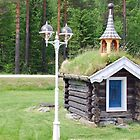 Log-cabin with streetlight by Arie Koene