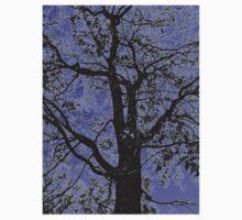Tree Branches Against Purple Sky Design Kids Tee