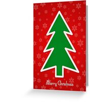 Merry Christmas Tree With Snowflake Background Greeting Card