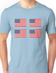 Four 4 American Flags Unisex T-Shirt
