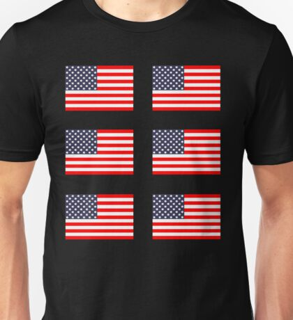 Six 6 American Flags Unisex T-Shirt