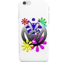 VW Peace hand sign with flowers iPhone Case/Skin