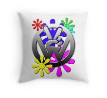 VW Peace hand sign with flowers Throw Pillow