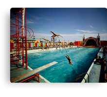 Aqua Circus Pool and Divers at Sportland Pier in Wildwood New Jersey - 1960's Canvas Print