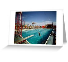 Aqua Circus Pool and Divers at Sportland Pier in Wildwood New Jersey - 1960's Greeting Card