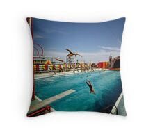 Aqua Circus Pool and Divers at Sportland Pier in Wildwood New Jersey - 1960's Throw Pillow