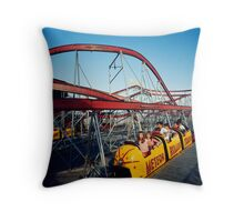Meteor Roller Coaster Ride - Sportland Pier Wildwood, NJ - 1960's Throw Pillow
