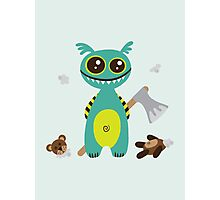 Cute Monster with Headless Teddy Photographic Print