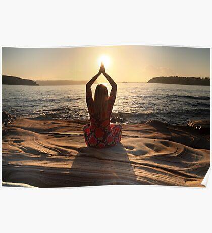 Yoga, sun worshipper, sun aura Poster
