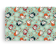CUte Little Owls on Turquoise Background Pattern. Canvas Print