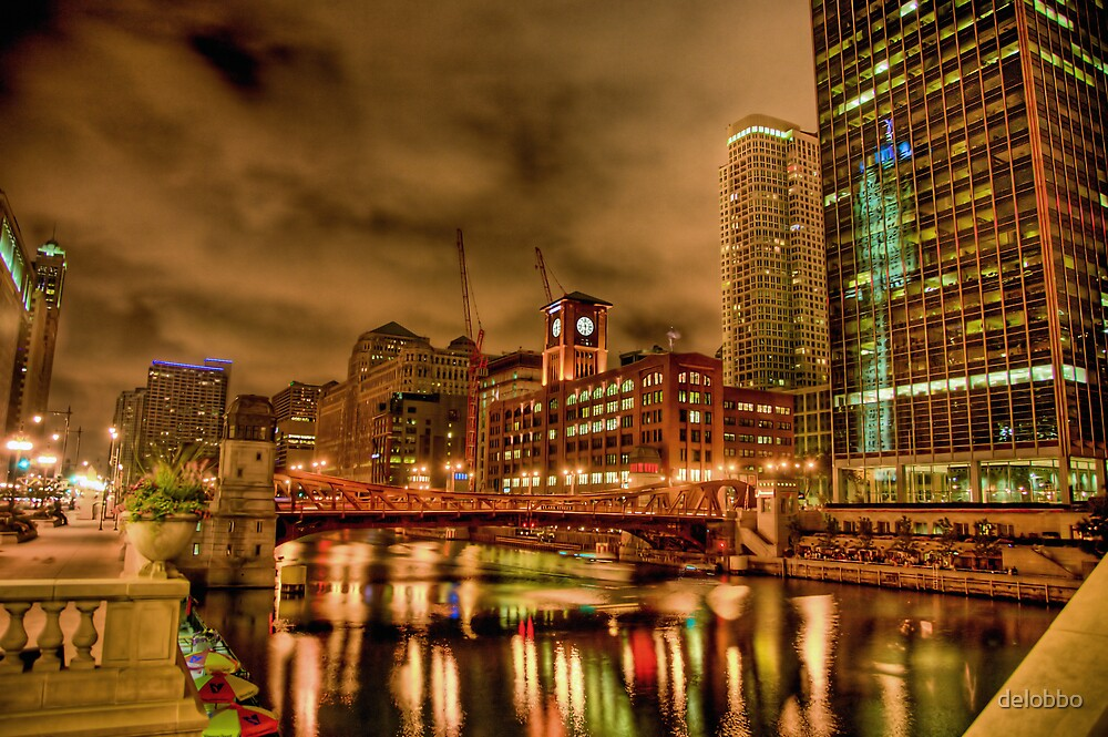 Chicago River at Clark Street Bridge. by delobbo