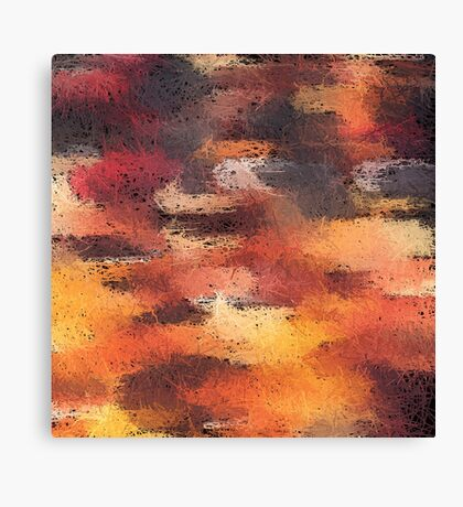 psychedelic camouflage painting abstract pattern in brown orange and black Canvas Print