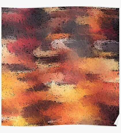 psychedelic camouflage painting abstract pattern in brown orange and black Poster