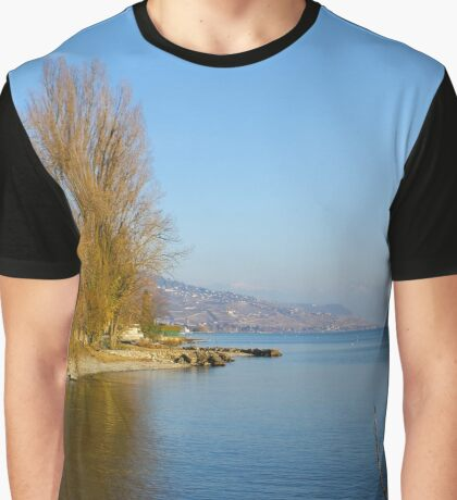 Blue Winter Lakeside Graphic T-Shirt
