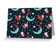 Christmas Animals and Little Santa Pattern. Greeting Card