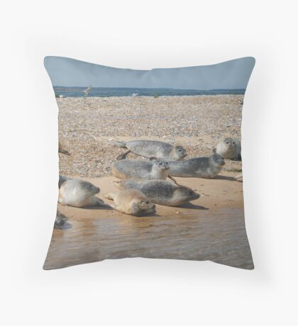 Seals sunbathing Throw Pillow