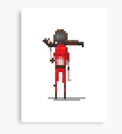 Red doomguy pixelart tribute  Canvas Print
