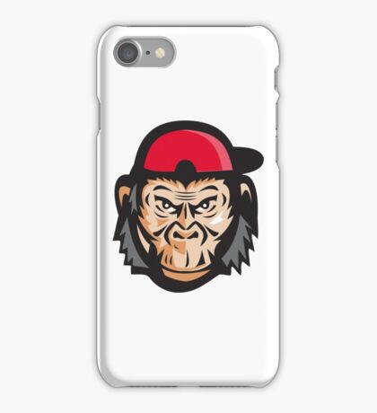 Angry Chimpanzee Head Baseball Cap Retro iPhone Case/Skin