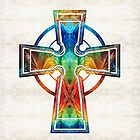 Colorful Celtic Cross by Sharon Cummings by Sharon Cummings