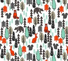 Christmas Forest Animals Pattern by Andrea Lauren by Andrea Lauren