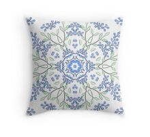 Budded Blue Blossoms Print Throw Pillow