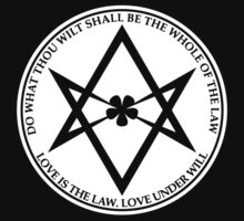Aleister Crowley - DO WHAT THOU WILT SHALL BE THE WHOLE OF THE LAW - Occult - Thelema (White On Black) T-Shirt