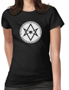 Aleister Crowley - DO WHAT THOU WILT SHALL BE THE WHOLE OF THE LAW - Occult - Thelema (White On Black) Womens Fitted T-Shirt