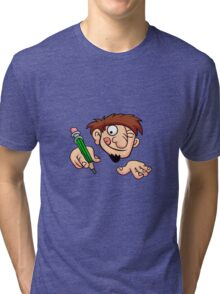 Illustration of a boy writing  Tri-blend T-Shirt