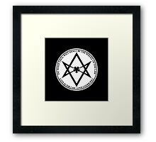 Aleister Crowley - DO WHAT THOU WILT SHALL BE THE WHOLE OF THE LAW - Occult - Thelema (White On Black) Framed Print