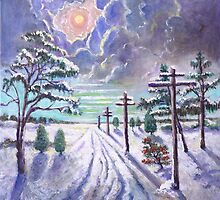 Moonlight on a Snowy Road by Randy  Burns